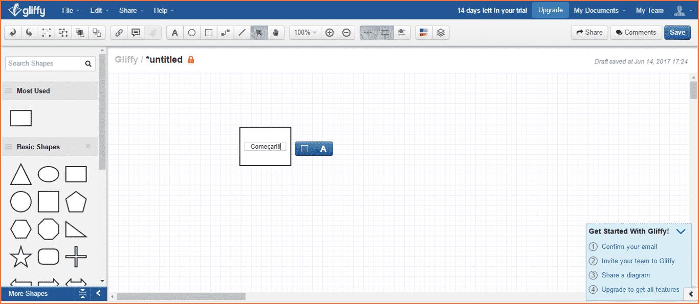 Exemplo da ferramenta Gliffy para fluxograma