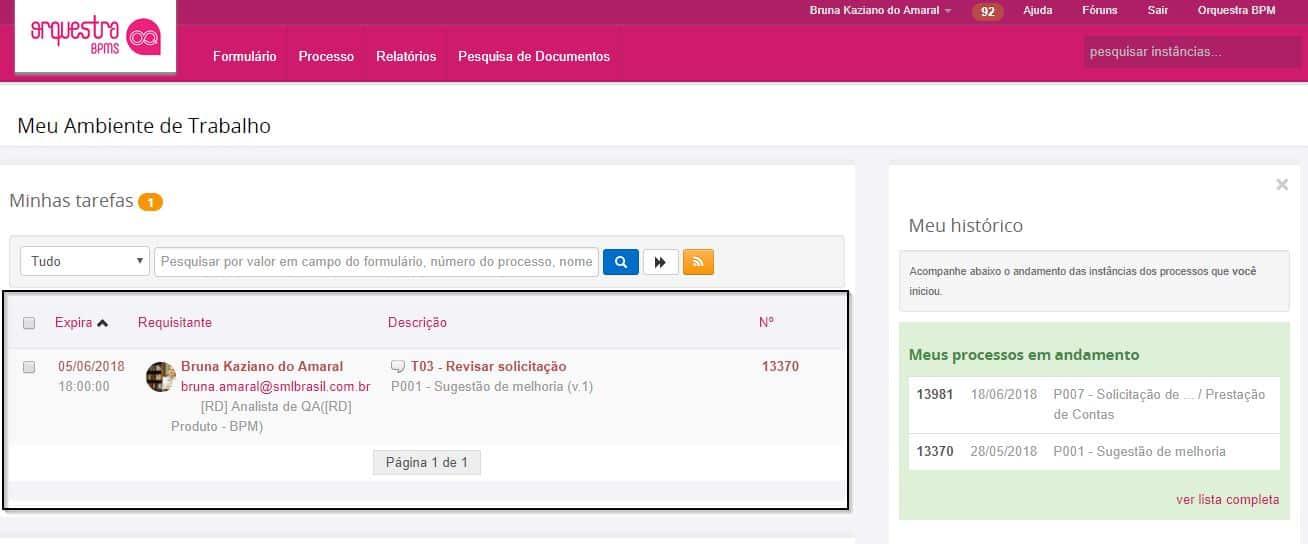 Exemplo de recebimento automático de tarefa no Orquestra BPMS