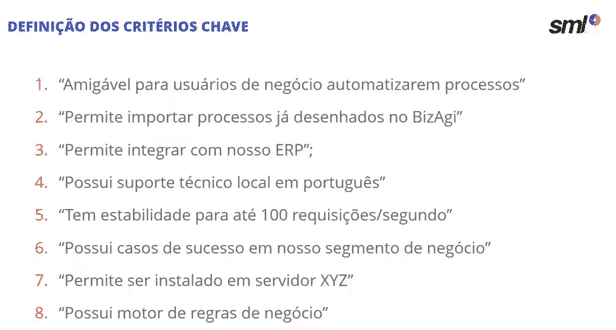 Critérios chave