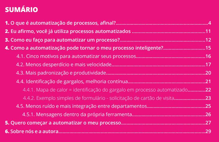Sumário E-book Automatização de processos
