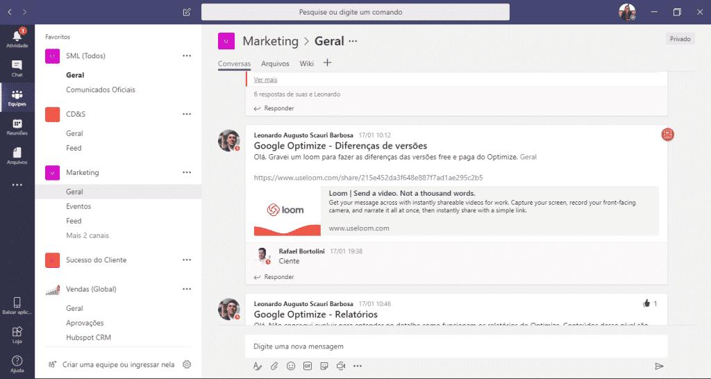 Visão de conversas por equipes no Microsoft Teams