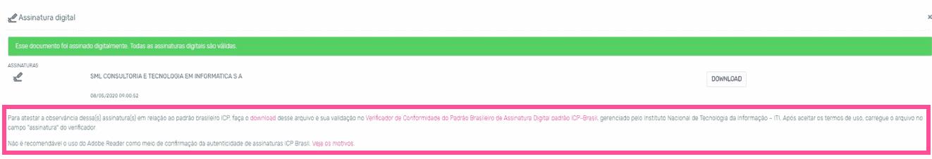 Descarte de documentos_Conferência da assinatura digital
