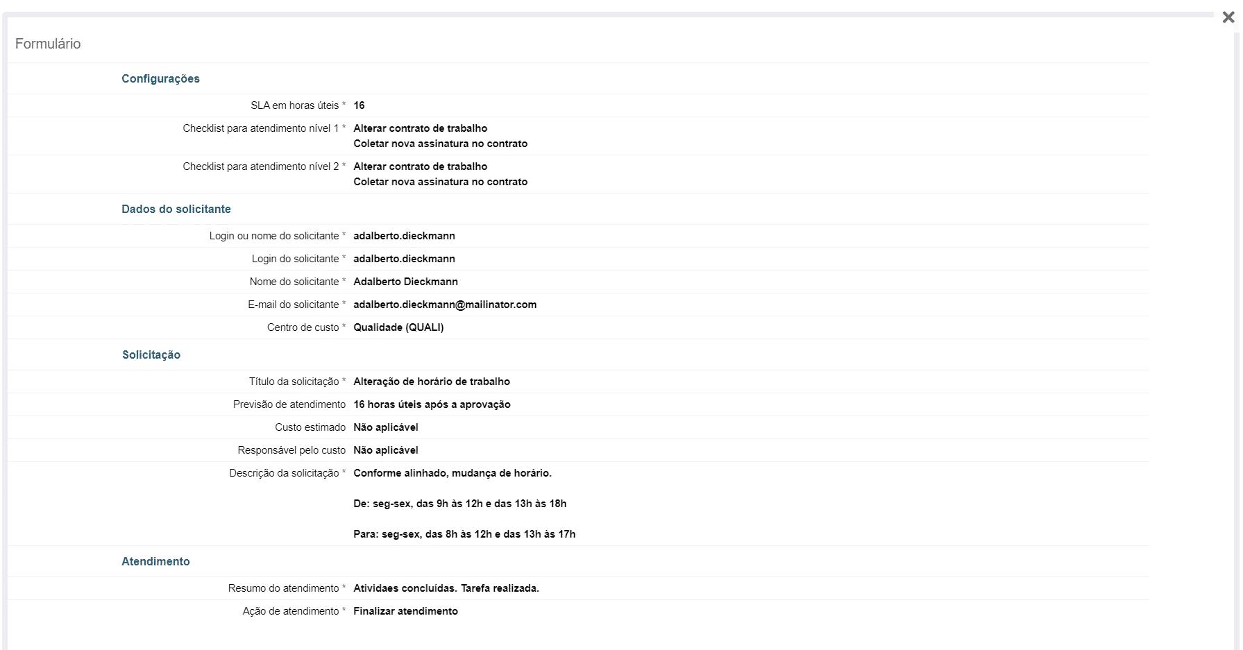 Orquestra - Informações do processo