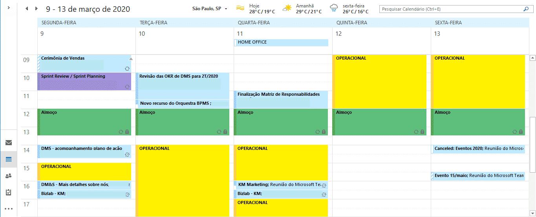 Produtividade: organização do calendário semanal